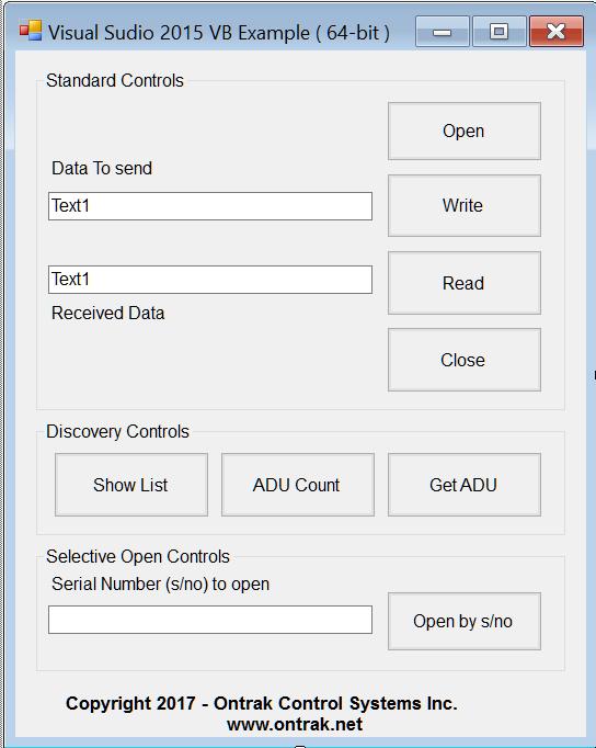 Using VISUAL STUDIO 2015 VB with ADU USB Data Acquisition